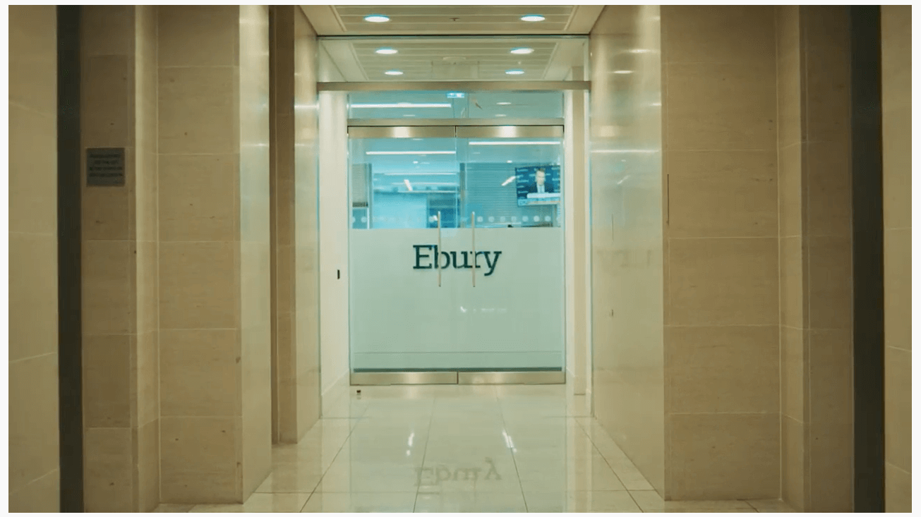Entryway to Ebury Offices with Ebury etched on doorway